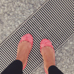 Bright pink shoes for rainy days
